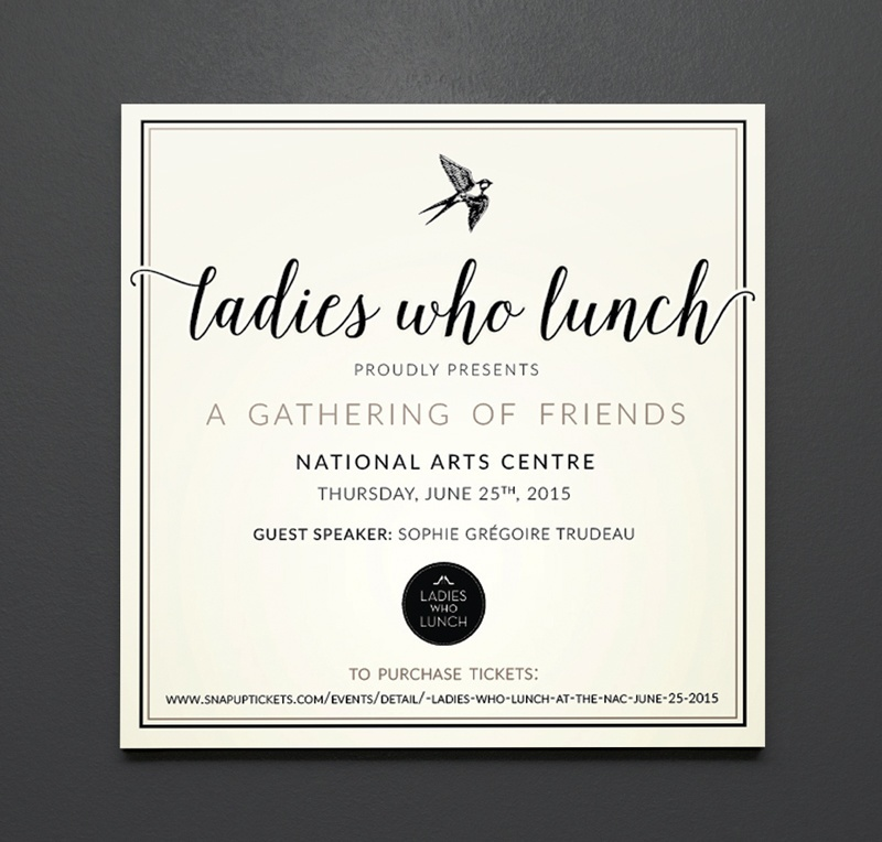invitation ladies who lunch butter honey graphic design